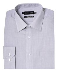 Double Two Stripe Classic Fit Classic Collar Formal Shirt Grey