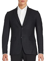 John Varvatos Austin Fit Tonal Plaid Wool And Silk Sportcoat Oxide