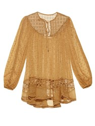 Zimmermann Belle Web Silk Blouse Yellow