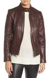 Michael Michael Kors Women's Band Collar Front Zip Leather Jacket Bordeaux