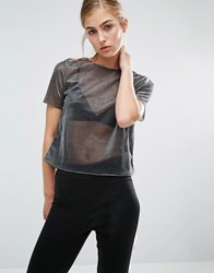 Miss Selfridge Metallic T Shirt Metallic Grey