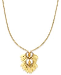 Inc International Concepts Gold Tone Stone And Pave Marquise Disc Pendant Necklace Only At Macy's
