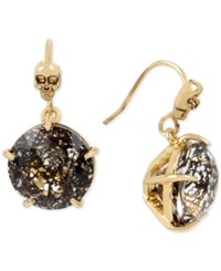Betsey Johnson Gold Tone Skull Accented Patina Stone Drop Earrings Black