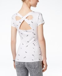 Energie Juniors' Lucia Printed Back Cutout T Shirt Ditsy Feather