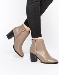 Faith Sandi Taupe Leather Zip Heeled Boots Beige