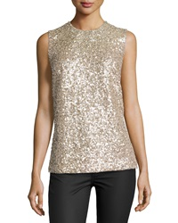 Kaufman Franco Sleeveless Gravel Paillettes Top Desert