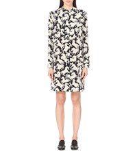 Stella Mccartney Horse Print Silk Crepe Shirt Dress Black