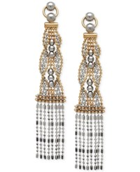 Macy's Two Tone Beaded Dangle Drop Earrings In 14K Gold And White Gold