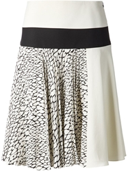 Bouchra Jarrar Pleated Snakeskin Print Skirt White