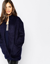 Y.A.S Fluffy Blue Zip Coat