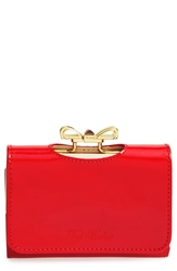 Ted Baker 'Crystal Bow Small' Patent Leather Clutch Wallet Bright Red