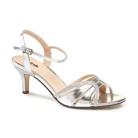 Paradox London Pink Harriet Two Part Mid Heel Sandals Silver