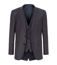 Boss Micro Texture Three Piece Suit Male Navy