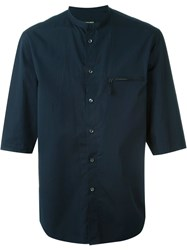 Giorgio Armani Three Quarter Sleeve Shirt Blue