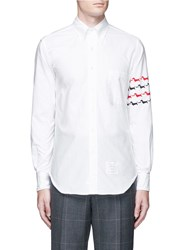 Thom Browne 'Hector' Sleeve Embroidery Oxford Shirt White