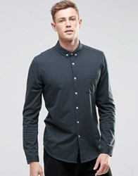 Asos Jersey Shirt In Petrol Blue With Long Sleeves Petrol Blue