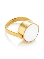 Svp Jewellery Mono Switch Black Onyx White Agate Ring Gold Plated