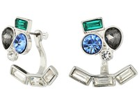 Guess Clustered Stone Earring Jacket Earrings Silver Light Sapphire Black Diamond Earring Multi