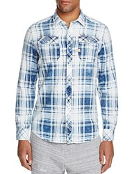 G Star Raw Landoh Faded Plaid Regular Fit Snap Front Shirt Indigo Yellow