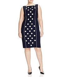 Marina Rinaldi Plus Doralice Sequined Polka Dot Dress Navy