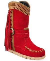 Mojo Moxy Nomad Western Wedge Boots Women's Shoes Red