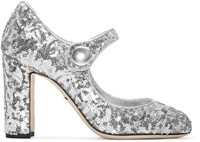 Dolce And Gabbana Silver Sequinned Mary Jane Heels