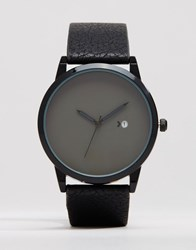Asos Watch With Black Strap And Date Black