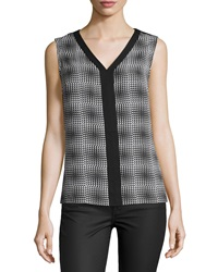 Laundry By Shelli Segal Printed V Neck Sleeveless Blouse Black Mult