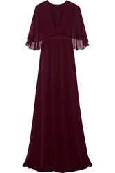 Giambattista Valli Cape Effect Silk Georgette Gown Burgundy