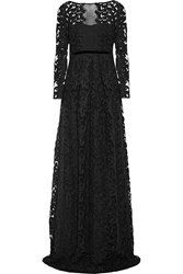 Burberry Embroidered Cotton Blend Tulle Gown