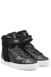 Pierre Hardy Leather High Top Sneakers With Shearling Black