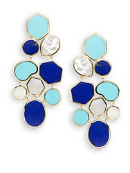Ippolita Polished Rock Candy Lapis Turquoise Mother Of Pearl And 18K Yellow Gold Mosaic Earrings