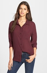 Junior Women's Frenchi Spread Collar Shirt Burgundy Stem
