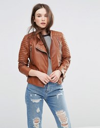 Barney's Originals Leather Biker Jacket With Quilting And Buckle Detail Tan