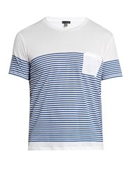 Danward Striped Crew Neck Cotton Jersey T Shirt Navy Multi
