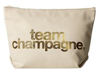 Dogeared Team Champagne Gold Foil Lil Zip Gold Foil Canvas Cosmetic Case