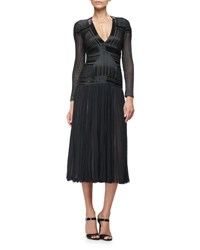 J. Mendel Beaded Long Sleeve V Neck Dress Black Noir Noir