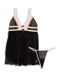 Betsey Johnson Two Piece Lace Chemise And Thong Set Black
