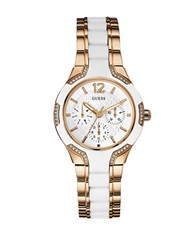 Guess Crystal Accented Rose Goldtone And Silicone Chronograph Watch 0421 U0556l3 White