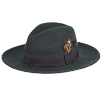 John Lewis And Co. Wool Feather Fedora Hat Green
