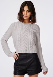 Missguided Cropped Cable Knit Oversized Slouch Sweater Grey