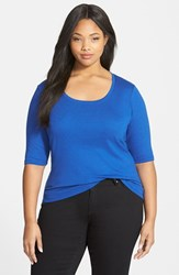 Plus Size Women's Sejour Elbow Sleeve Scoop Neck Tee Blue Mazarine