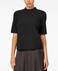 Kensie Short Sleeve Mock Turtleneck Top Black