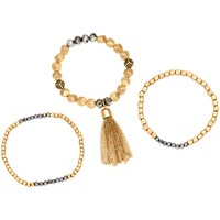 Adele Marie Square Faceted Bead Tassel Stretch Bracelet Pack Of 3 Gold