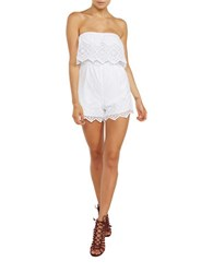 Bardot Veil Strapless Embroidered Lace Romper White