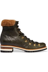 Rupert Sanderson Hamilton Shearling Trimmed Leather Boots Army Green