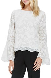 Vince Camuto Bell Sleeve Embroidered Lace Blouse Antique White