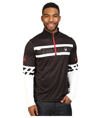 Spyder Heritage Dry W.E.B. T Neck Top Black White Red Men's Long Sleeve Pullover