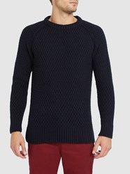 M.Studio Navy Max Large Knit Stitch Sweater Blue