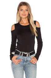Velvet By Graham And Spencer Zabana Long Sleeve Open Shoulder Top Black